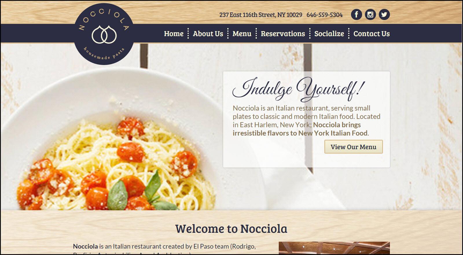 Nocciola Restaurant Website